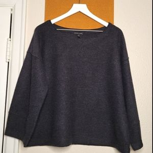 [Eileen Fisher] Charcoal Grey Boiled Wool Pullover